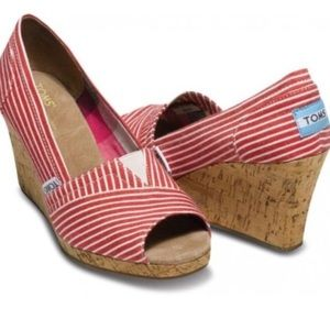 TOMS Red and White Stripe Peep Toe Wedges
